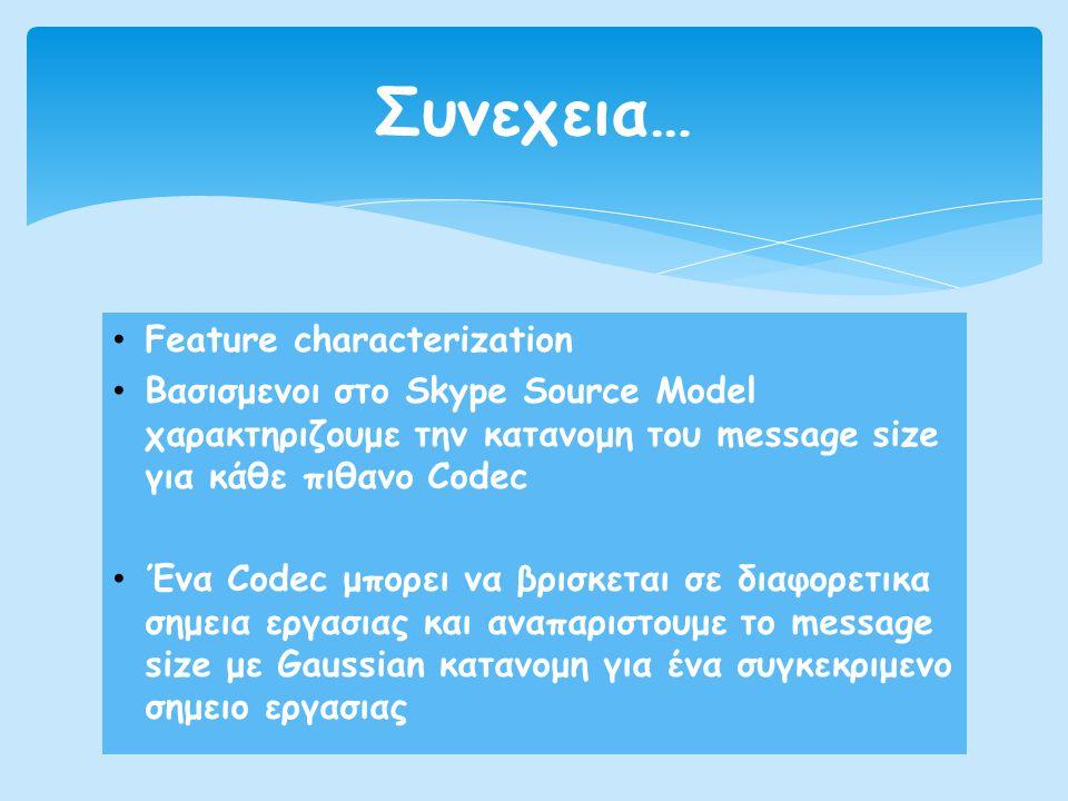 • Feature characterization • Βασισμενοι στο Skype Source Model χαρακτηριζουμε την κατανομη του message size για κάθε πιθανο Codec • Ένα Codec μπορει ν