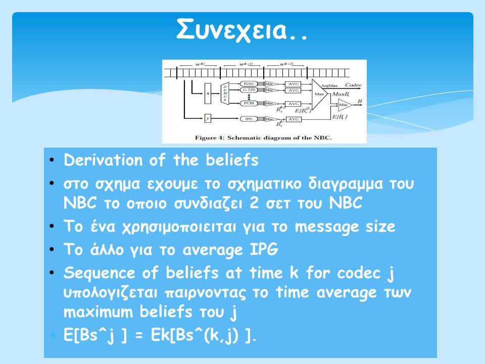 • Derivation of the beliefs • στο σχημα εχουμε το σχηματικο διαγραμμα του NBC το οποιο συνδιαζει 2 σετ του NBC • Το ένα χρησιμοποιειται για το message size • Το άλλο για το average IPG • Sequence of beliefs at time k for codec j υπολογιζεται παιρνοντας το time average των maximum beliefs του j  E[Bs^j ] = Ek[Bs^(k,j) ].