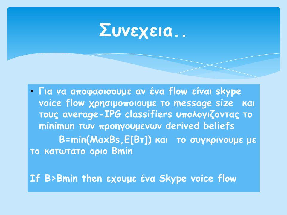 • Για να αποφασισουμε αν ένα flow είναι skype voice flow χρησιμοποιουμε το message size και τους average-IPG classifiers υπολογιζοντας το minimun των