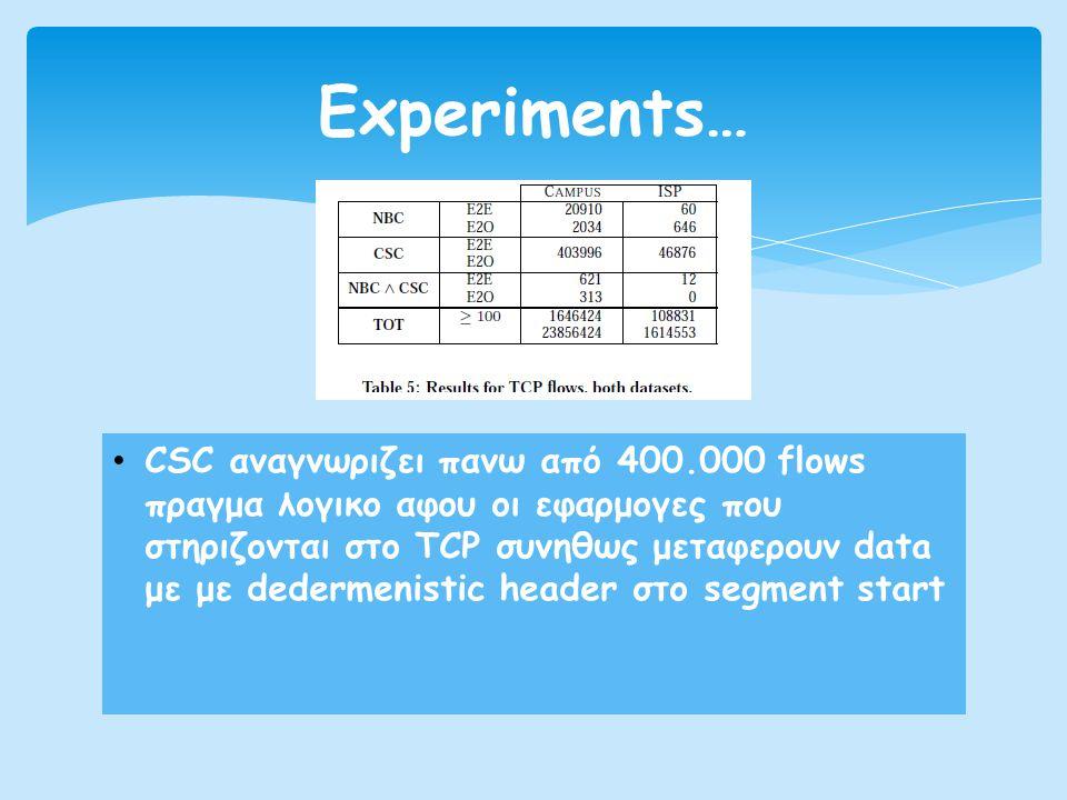 • CSC αναγνωριζει πανω από 400.000 flows πραγμα λογικο αφου οι εφαρμογες που στηριζονται στο TCP συνηθως μεταφερουν data με με dedermenistic header στο segment start Experiments…