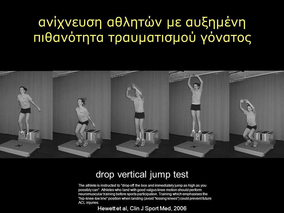 Hewett et al, Clin J Sport Med, 2006 ανίχνευση αθλητών με αυξημένη πιθανότητα τραυματισμού γόνατος drop vertical jump test The athlete is instructed t