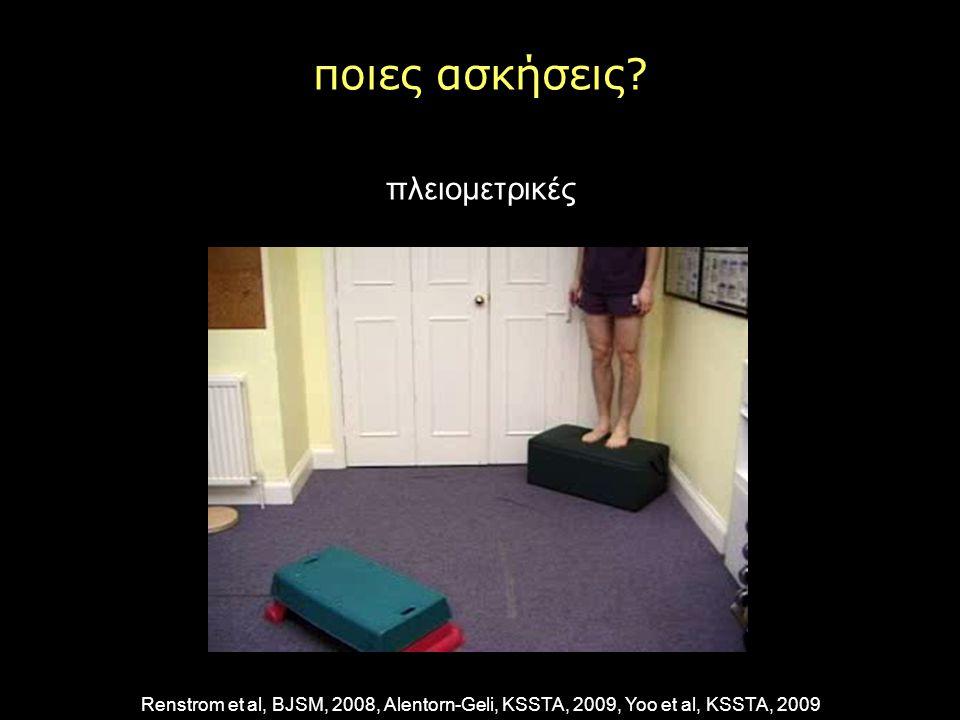 ποιες ασκήσεις? πλειομετρικές Renstrom et al, BJSM, 2008, Alentorn-Geli, KSSTA, 2009, Yoo et al, KSSTA, 2009