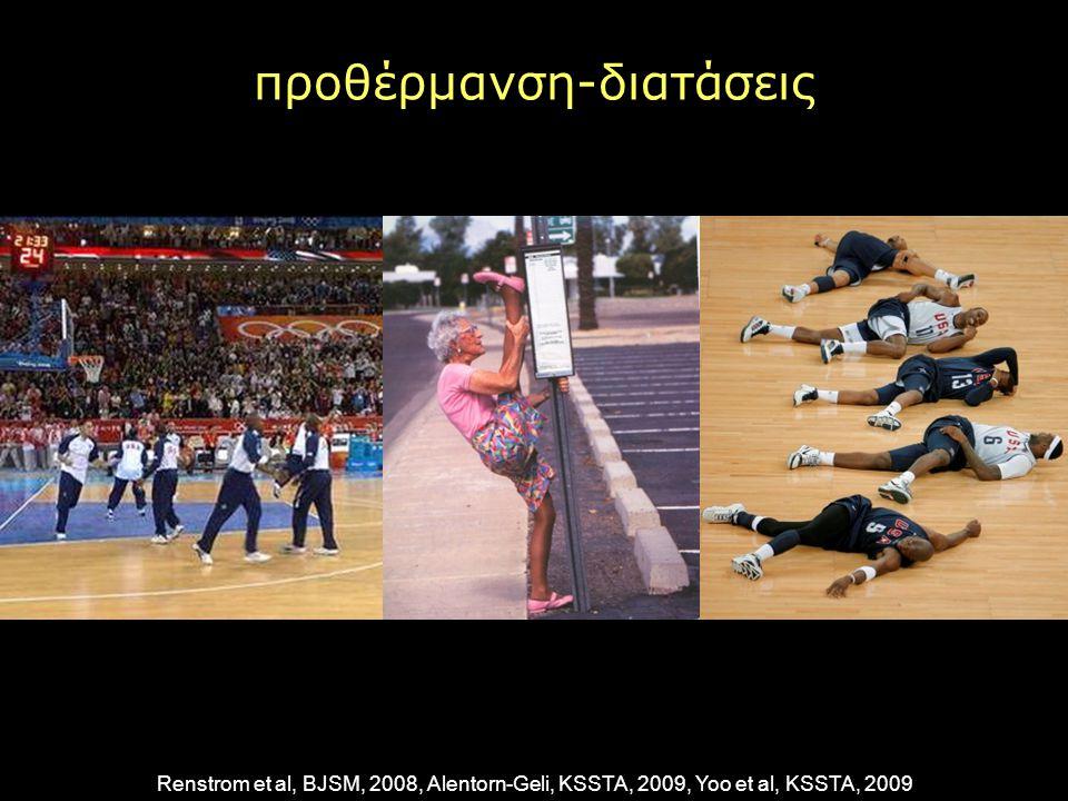 προθέρμανση-διατάσεις Renstrom et al, BJSM, 2008, Alentorn-Geli, KSSTA, 2009, Yoo et al, KSSTA, 2009