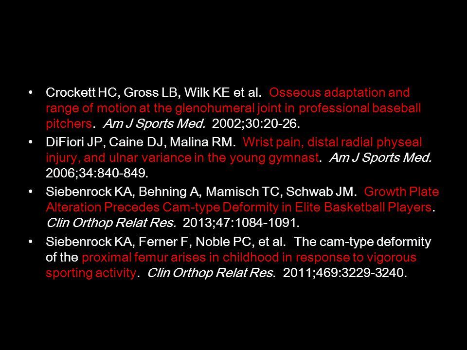 •Crockett HC, Gross LB, Wilk KE et al. Osseous adaptation and range of motion at the glenohumeral joint in professional baseball pitchers. Am J Sports