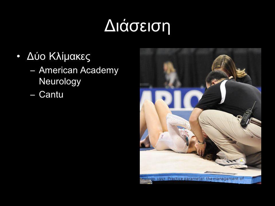 Διάσειση •Δύο Κλίμακες –American Academy Neurology –Cantu Quality Standards Subcommittee of the American Academy of Neurology. 1997. Practice paramete