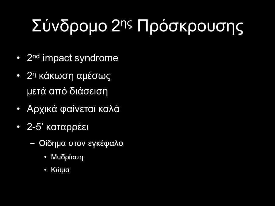Σύνδρομο 2 ης Πρόσκρουσης •2 nd impact syndrome •2 η κάκωση αμέσως μετά από διάσειση •Αρχικά φαίνεται καλά •2-5' καταρρέει –Οίδημα στον εγκέφαλο •Μυδρ