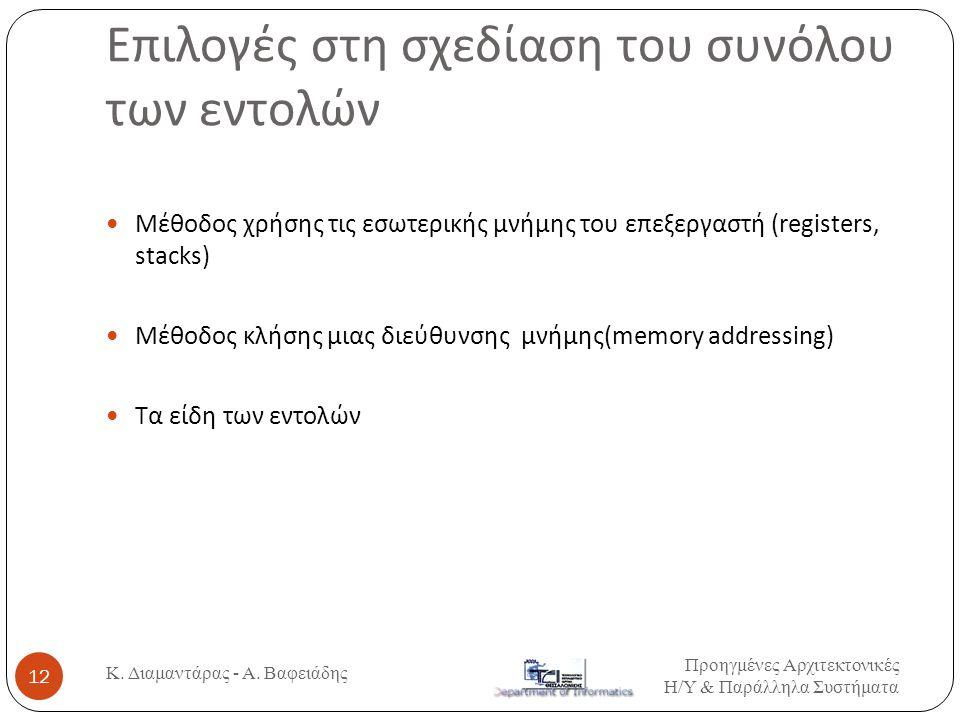 Επιλογές στη σχεδίαση του συνόλου των εντολών Κ. Διαμαντάρας - Α. Βαφειάδης 12  Μέθοδος χρήσης τις εσωτερικής μνήμης του επεξεργαστή (registers, stac