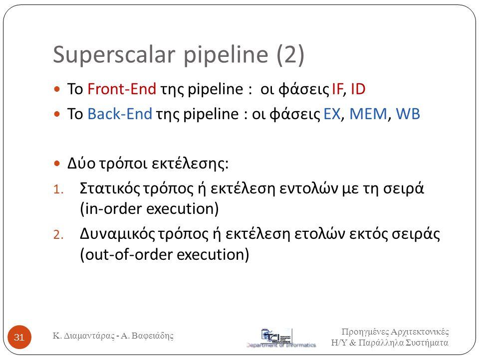Superscalar pipeline (2) Προηγμένες Αρχιτεκτονικές Η / Υ & Παράλληλα Συστήματα Κ. Διαμαντάρας - Α. Βαφειάδης 31  Το Front-End της pipeline : οι φάσει
