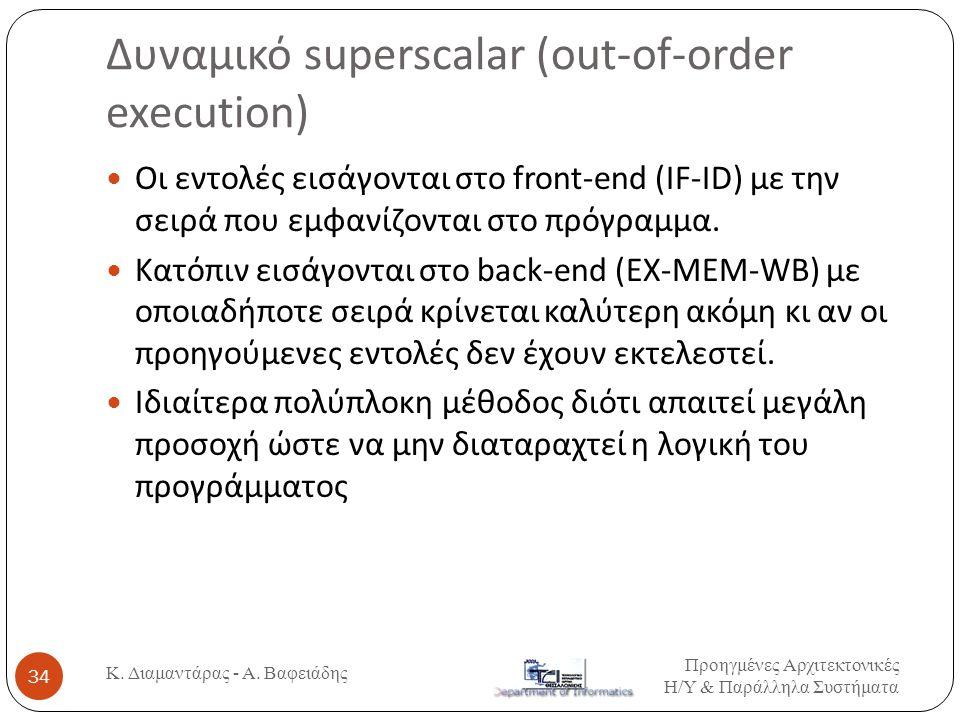 Δυναμικό superscalar (out-of-order execution) Προηγμένες Αρχιτεκτονικές Η / Υ & Παράλληλα Συστήματα Κ. Διαμαντάρας - Α. Βαφειάδης 34  Οι εντολές εισά