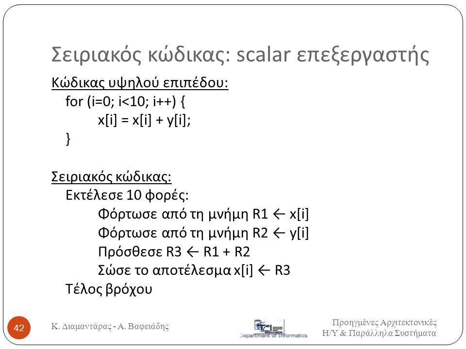 Σειριακός κώδικας: scalar επεξεργαστής Προηγμένες Αρχιτεκτονικές Η / Υ & Παράλληλα Συστήματα Κ. Διαμαντάρας - Α. Βαφειάδης 42 Κώδικας υψηλού επιπέδου: