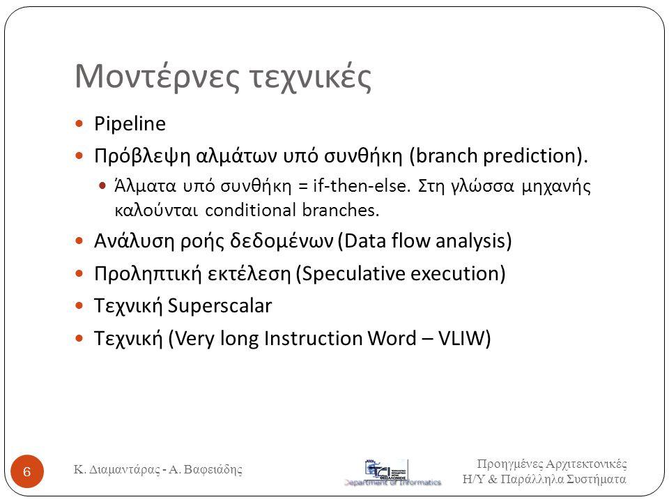 Μοντέρνες τεχνικές  Pipeline  Πρόβλεψη αλμάτων υπό συνθήκη (branch prediction).  Άλματα υπό συνθήκη = if-then-else. Στη γλώσσα μηχανής καλούνται co