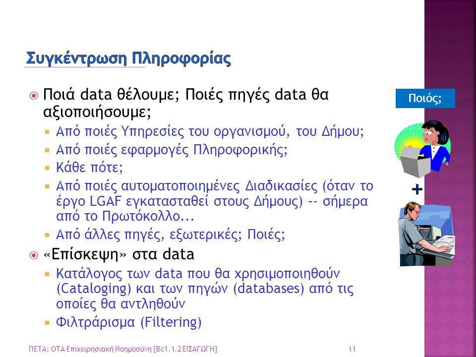  Ποιά data θέλουμε; Ποιές πηγές data θα αξιοποιήσουμε;  Από ποιές Υπηρεσίες του οργανισμού, του Δήμου;  Από ποιές εφαρμογές Πληροφορικής;  Κάθε πό