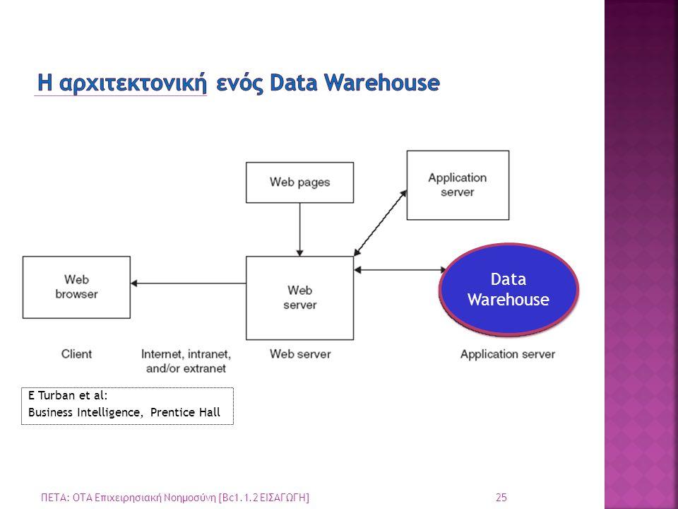 25 ΠΕΤΑ: ΟΤΑ Επιχειρησιακή Νοημοσύνη [Bc1.1.2 ΕΙΣΑΓΩΓΗ] Data Warehouse E Turban et al: Business Intelligence, Prentice Hall