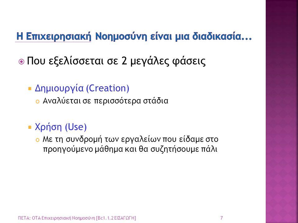  Που εξελίσσεται σε 2 μεγάλες φάσεις  Δημιουργία (Creation) Αναλύεται σε περισσότερα στάδια  Χρήση (Use) Με τη συνδρομή των εργαλείων που είδαμε στ