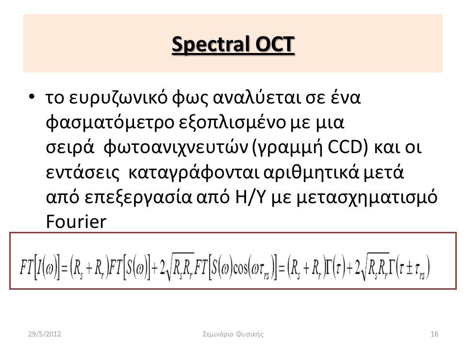 Spectral OCT • το ευρυζωνικό φως αναλύεται σε ένα φασματόμετρο εξοπλισμένο με μια σειρά φωτοανιχνευτών (γραμμή CCD) και οι εντάσεις καταγράφονται αριθ