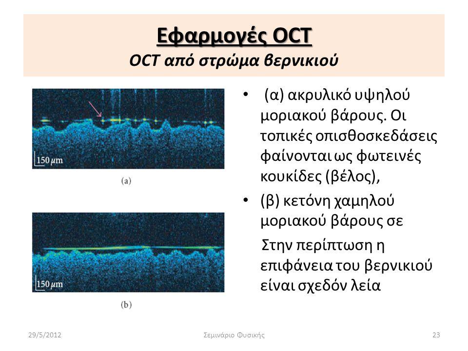 Εφαρμογές OCT Εφαρμογές OCT OCT από στρώμα βερνικιού • (α) ακρυλικό υψηλού μοριακού βάρους. Οι τοπικές οπισθοσκεδάσεις φαίνονται ως φωτεινές κουκίδες