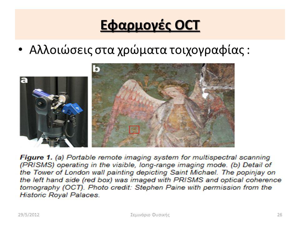 Εφαρμογές OCT • Αλλοιώσεις στα χρώματα τοιχογραφίας : 29/5/2012Σεμινάριο Φυσικής26