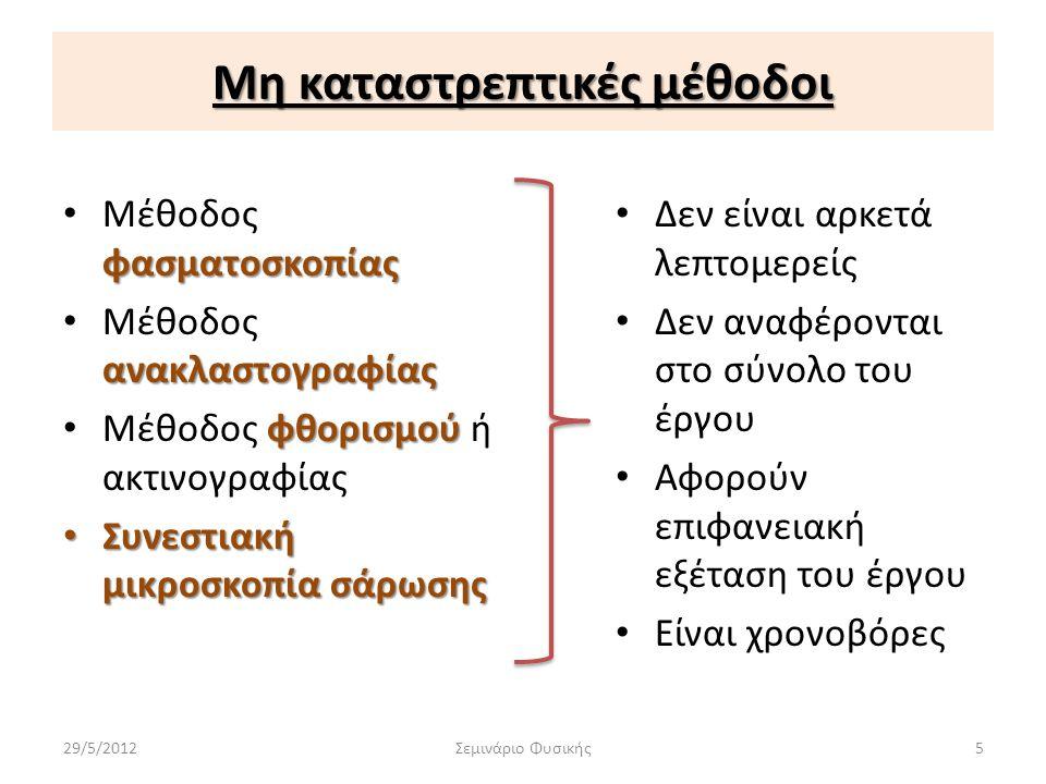 Μη καταστρεπτικές μέθοδοι φασματοσκοπίας • Μέθοδος φασματοσκοπίας ανακλαστογραφίας • Μέθοδος ανακλαστογραφίας φθορισμού • Μέθοδος φθορισμού ή ακτινογρ