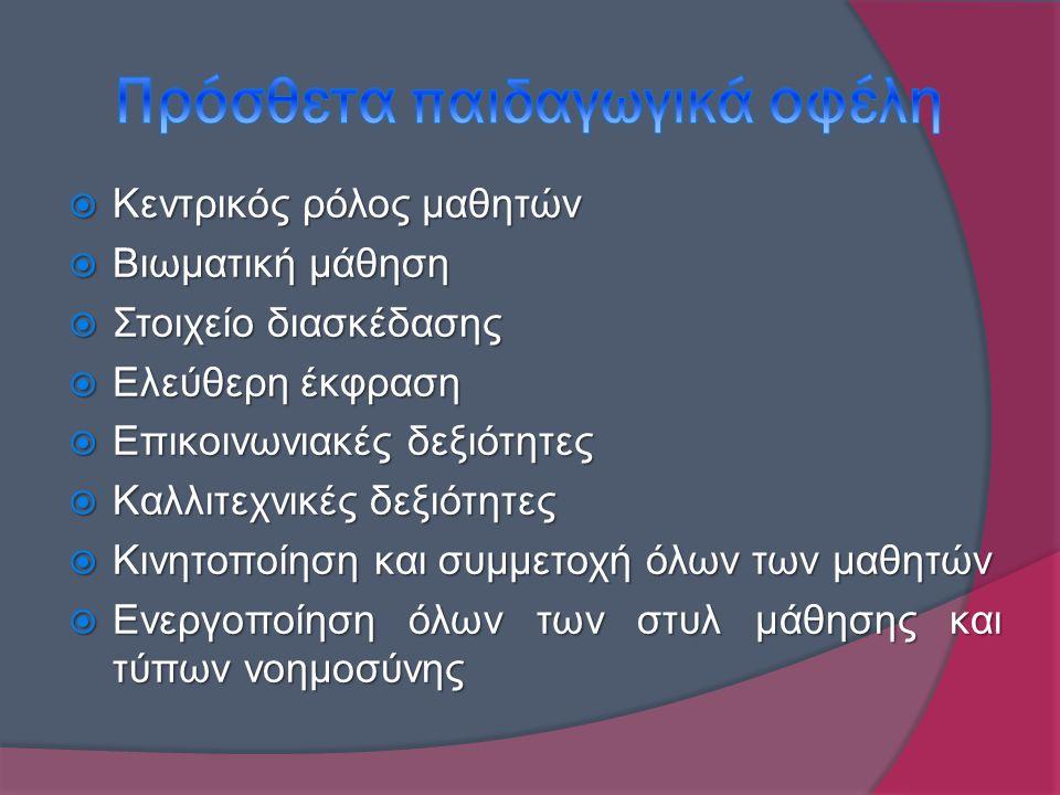  Κεντρικός ρόλος μαθητών  Βιωματική μάθηση  Στοιχείο διασκέδασης  Ελεύθερη έκφραση  Επικοινωνιακές δεξιότητες  Καλλιτεχνικές δεξιότητες  Κινητοποίηση και συμμετοχή όλων των μαθητών  Ενεργοποίηση όλων των στυλ μάθησης και τύπων νοημοσύνης