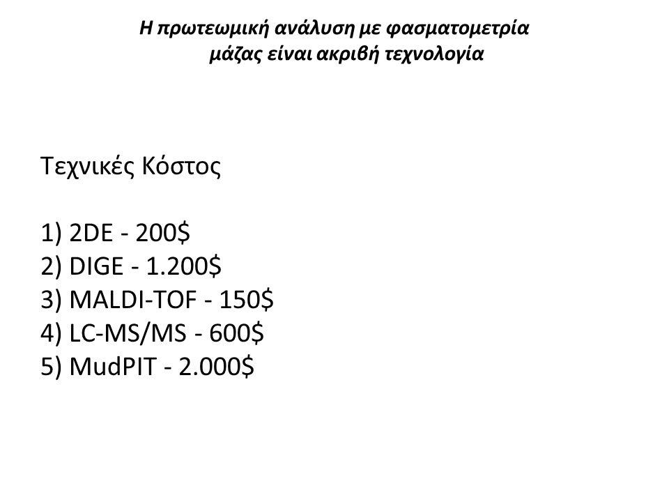 Η πρωτεωμική ανάλυση με φασματομετρία μάζας είναι ακριβή τεχνολογία Τεχνικές Κόστος 1) 2DE - 200$ 2) DIGE - 1.200$ 3) MALDI-TOF - 150$ 4) LC-MS/MS - 6