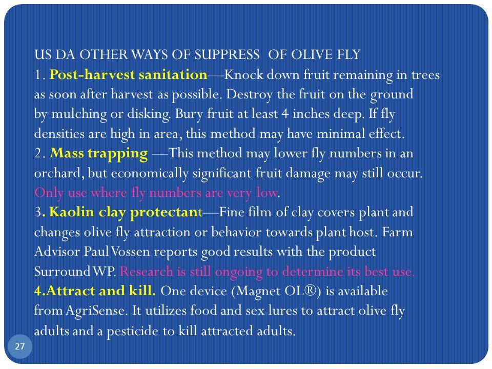 Υπολείμματα εντομοκτόνων σε συμβατικό και βιολογικό ελαιόλαδο mg/kg 26 199719981999 Dimethoate0.02260.02640.0271 Fenthio0.12220.1450.1702 Fenthio0.02150.00950.0035 Dimethoate0.00980.00380.0010 A.Tsatsakis et al.