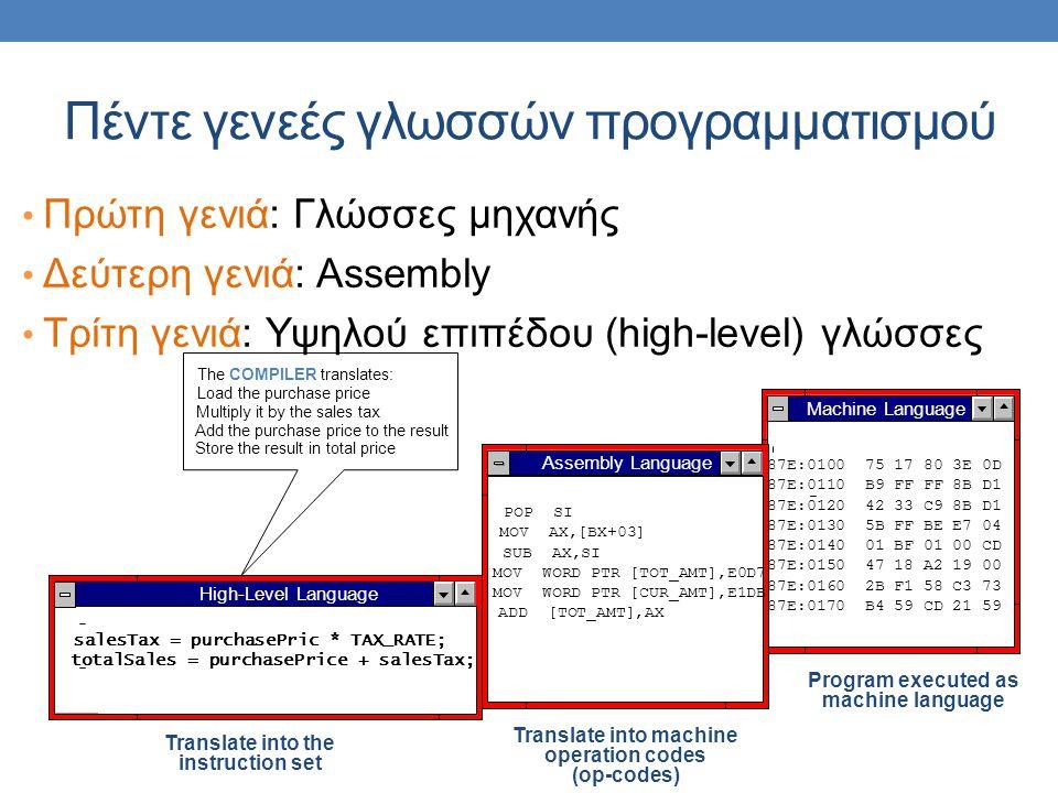 Πέντε γενεές γλωσσών προγραμματισμού • Πρώτη γενιά: Γλώσσες μηχανής • Δεύτερη γενιά: Assembly • Τρίτη γενιά: Υψηλού επιπέδου (high-level) γλώσσες Mach