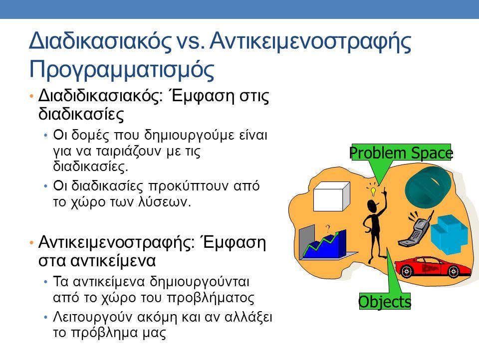 Διαδικασιακός vs. Αντικειμενοστραφής Προγραμματισμός • Διαδιδικασιακός: Έμφαση στις διαδικασίες • Οι δομές που δημιουργούμε είναι για να ταιριάζουν με