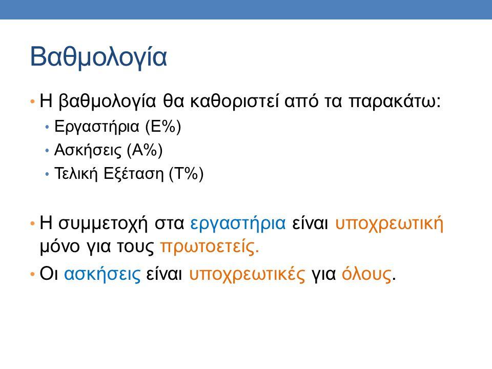 Βαθμολογία • Η βαθμολογία θα καθοριστεί από τα παρακάτω: • Εργαστήρια (Ε%) • Ασκήσεις (Α%) • Τελική Εξέταση (Τ%) • Η συμμετοχή στα εργαστήρια είναι υπ