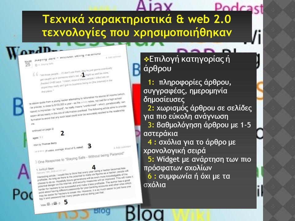  Επιλογή κατηγορίας ή άρθρου 1: πληροφορίες άρθρου, συγγραφέας, ημερομηνία δημοσίευσες 2: χωρισμός άρθρου σε σελίδες για πιο εύκολη ανάγνωση 3: βαθμο