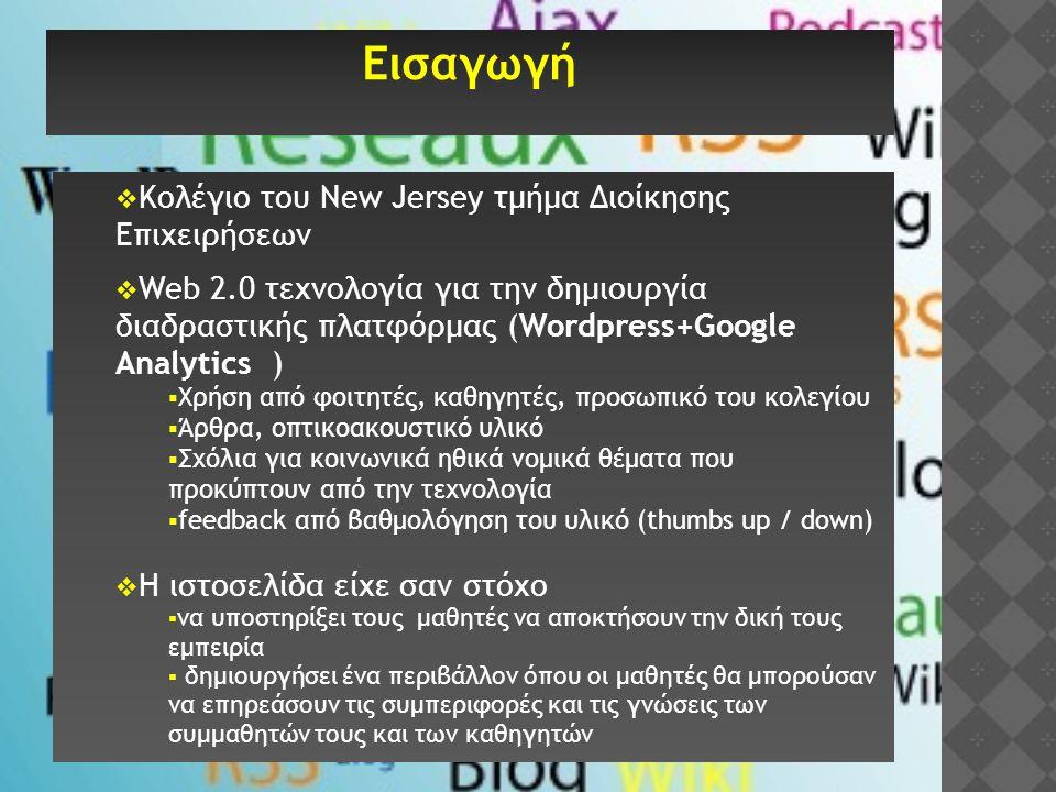 Εισαγωγή  Κολέγιο του New Jersey τμήμα Διοίκησης Επιχειρήσεων  Web 2.0 τεχνολογία για την δημιουργία διαδραστικής πλατφόρμας (Wordpress+Google Analy