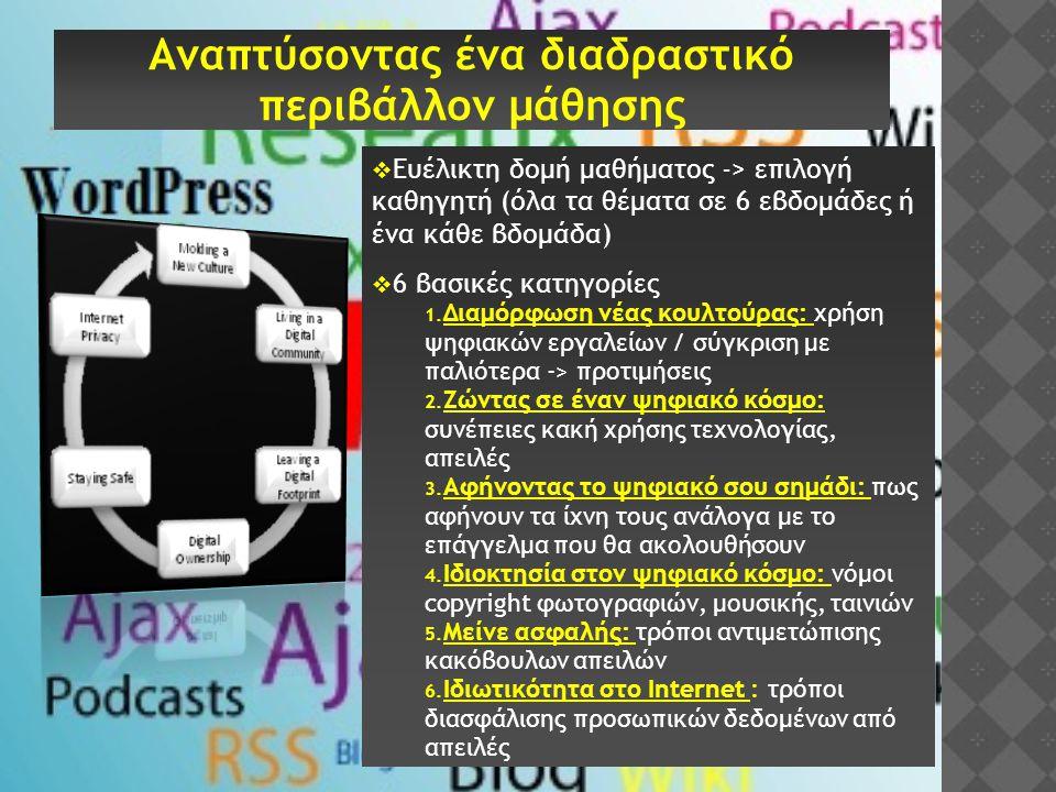  Ευέλικτη δομή μαθήματος -> επιλογή καθηγητή (όλα τα θέματα σε 6 εβδομάδες ή ένα κάθε βδομάδα)  6 βασικές κατηγορίες 1. Διαμόρφωση νέας κουλτούρας: