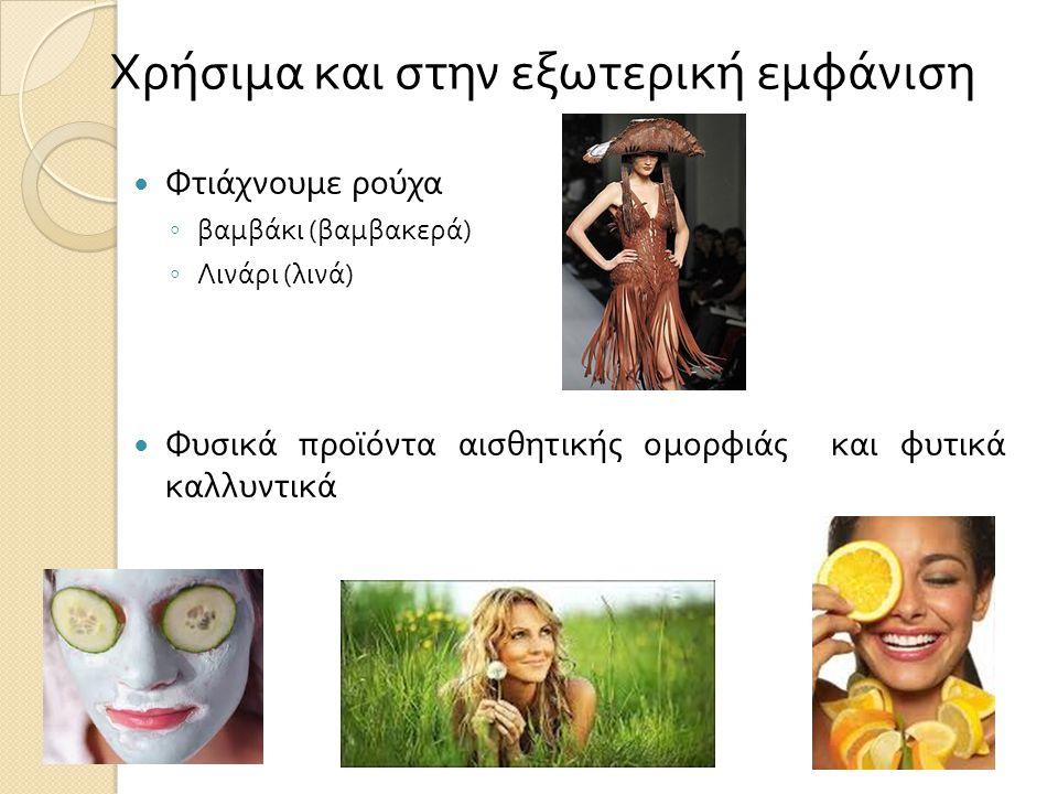  Φτιάχνουμε ρούχα ◦ βαμβάκι ( βαμβακερά ) ◦ Λινάρι ( λινά )  Φυσικά προϊόντα αισθητικής ομορφιάς και φυτικά καλλυντικά Χρήσιμα και στην εξωτερική εμφάνιση