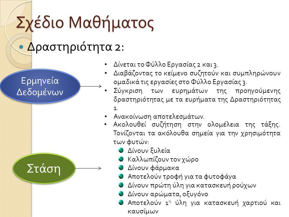 Σχέδιο Μαθήματος  Δραστηριότητα 2: Ερμηνεία Δεδομένων • Δίνεται το Φύλλο Εργασίας 2 και 3.