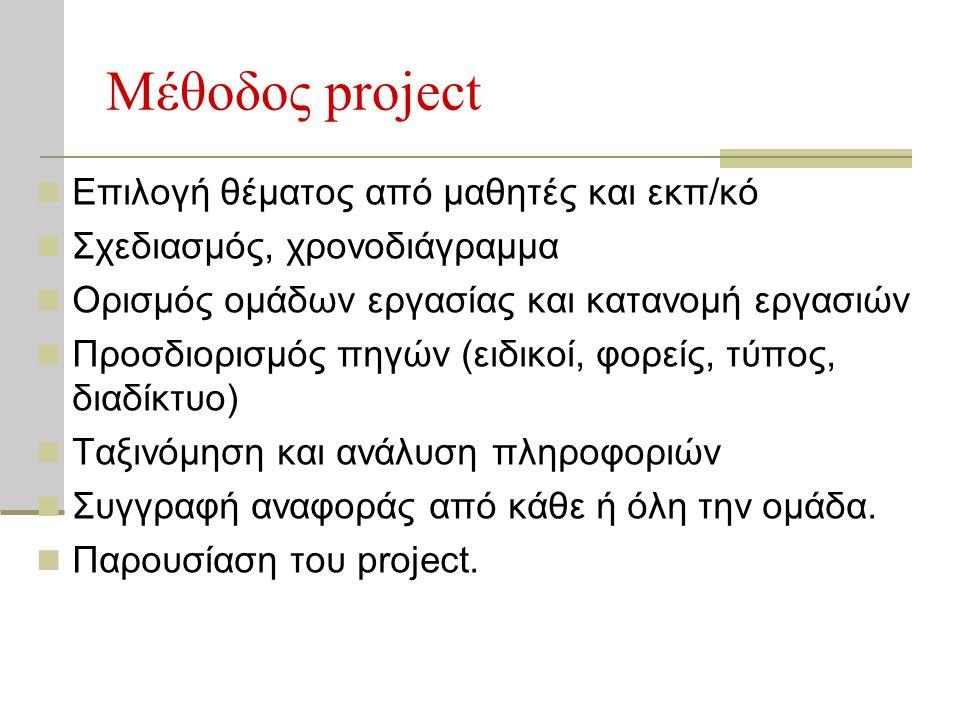 Μέθοδος project  Επιλογή θέματος από μαθητές και εκπ/κό  Σχεδιασμός, χρονοδιάγραμμα  Ορισμός ομάδων εργασίας και κατανομή εργασιών  Προσδιορισμός