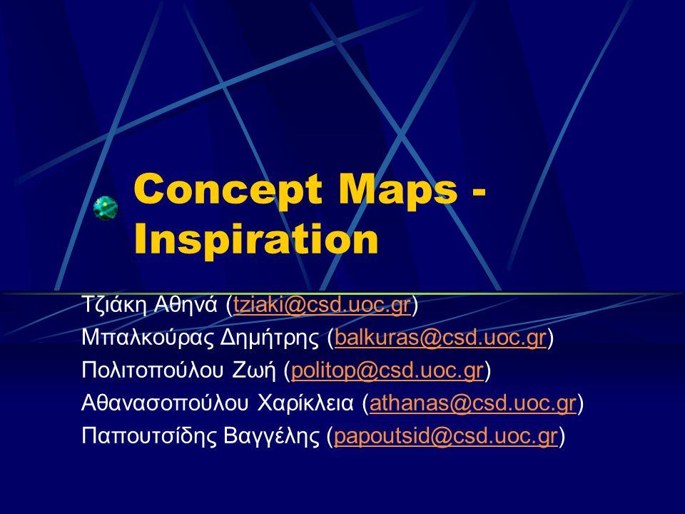 Concept Maps - Inspiration Τζιάκη Αθηνά (tziaki@csd.uoc.gr)tziaki@csd.uoc.gr Μπαλκούρας Δημήτρης (balkuras@csd.uoc.gr)balkuras@csd.uoc.gr Πολιτοπούλου Ζωή (politop@csd.uoc.gr)politop@csd.uoc.gr Αθανασοπούλου Χαρίκλεια (athanas@csd.uoc.gr)athanas@csd.uoc.gr Παπουτσίδης Βαγγέλης (papoutsid@csd.uoc.gr)papoutsid@csd.uoc.gr