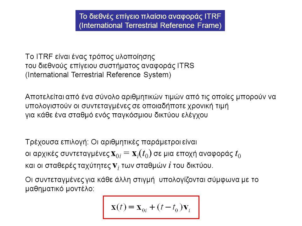 Το διεθνές επίγειο πλαίσιο αναφοράς ITRF (International Terrestrial Reference Frame) Τo ITRF είναι ένας τρόπος υλοποίησης του διεθνούς επίγειου συστήμ