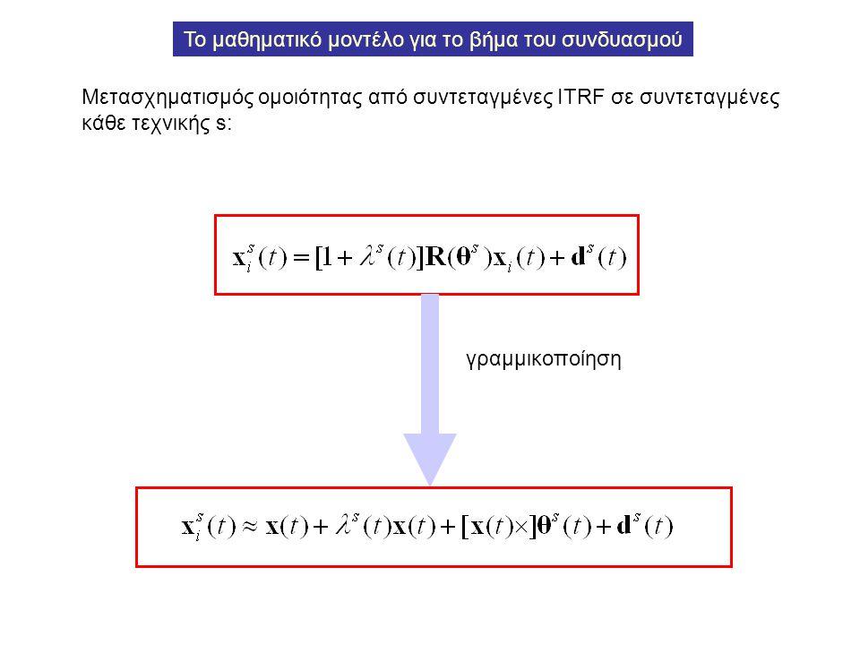 Το μαθηματικό μοντέλο για το βήμα του συνδυασμού Μετασχηματισμός ομοιότητας από συντεταγμένες ITRF σε συντεταγμένες κάθε τεχνικής s: γραμμικοποίηση