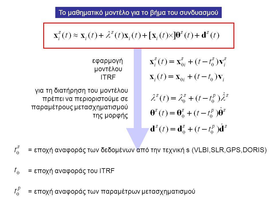 εφαρμογή μοντέλου ITRF για τη διατήρηση του μοντέλου πρέπει να περιοριστούμε σε παραμέτρους μετασχηματισμού της μορφής Το μαθηματικό μοντέλο για το βή