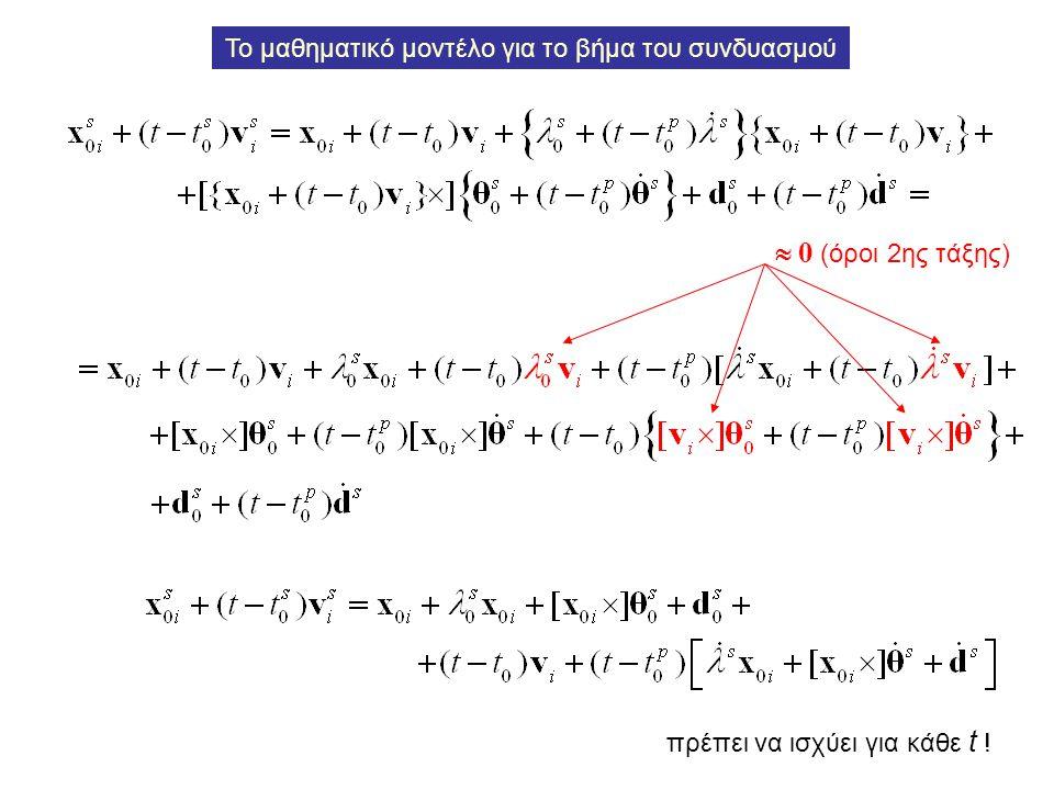 πρέπει να ισχύει για κάθε t ! Το μαθηματικό μοντέλο για το βήμα του συνδυασμού  0 (όροι 2ης τάξης)