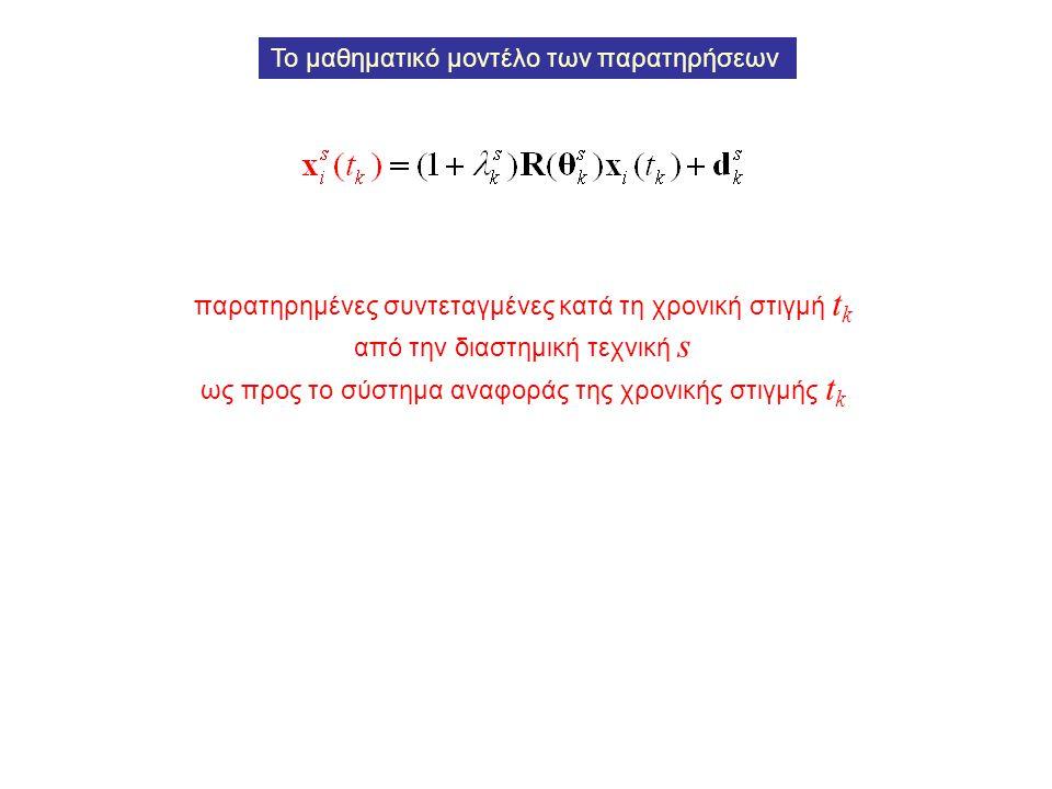 παρατηρημένες συντεταγμένες κατά τη χρονική στιγμή t k από την διαστημική τεχνική s ως προς το σύστημα αναφοράς της χρονικής στιγμής t k Το μαθηματικό