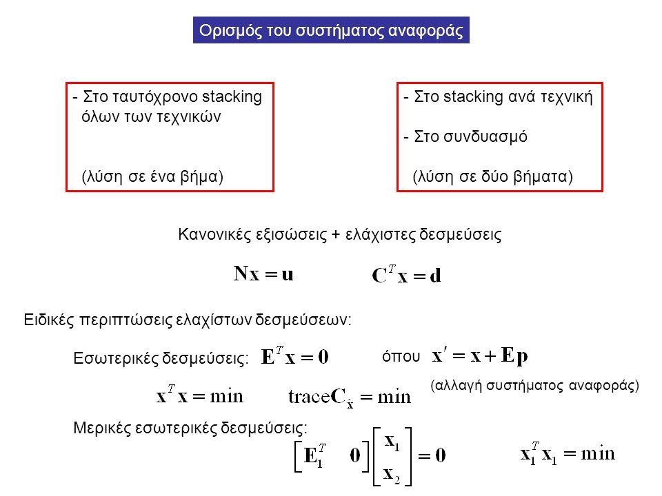 Ορισμός του συστήματος αναφοράς - Στο ταυτόχρονο stacking όλων των τεχνικών (λύση σε ένα βήμα) - Στο stacking ανά τεχνική - Στο συνδυασμό (λύση σε δύο
