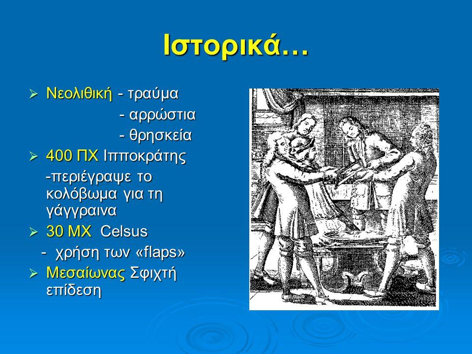Ιστορικά…  Νεολιθική - τραύμα - αρρώστια - αρρώστια - θρησκεία - θρησκεία  400 ΠΧ Ιπποκράτης -περιέγραψε το κολόβωμα για τη γάγγραινα -περιέγραψε το