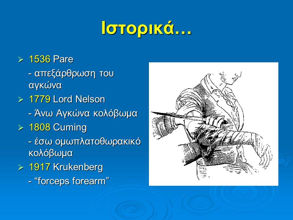 Ιστορικά…  1536 Pare - απεξάρθρωση του αγκώνα - απεξάρθρωση του αγκώνα  1779 Lord Nelson - Άνω Αγκώνα κολόβωμα - Άνω Αγκώνα κολόβωμα  1808 Cuming -