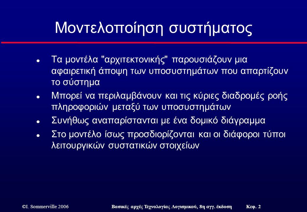 ©I. Sommerville 2006Βασικές αρχές Τεχνολογίας Λογισμικού, 8η αγγ. έκδοση Κεφ. 2 Μοντελοποίηση συστήματος l Τα μοντέλα