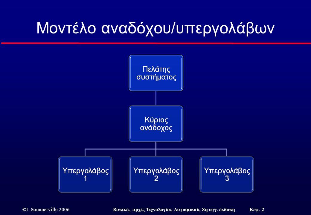 ©I. Sommerville 2006Βασικές αρχές Τεχνολογίας Λογισμικού, 8η αγγ. έκδοση Κεφ. 2 Μοντέλο αναδόχου/υπεργολάβων