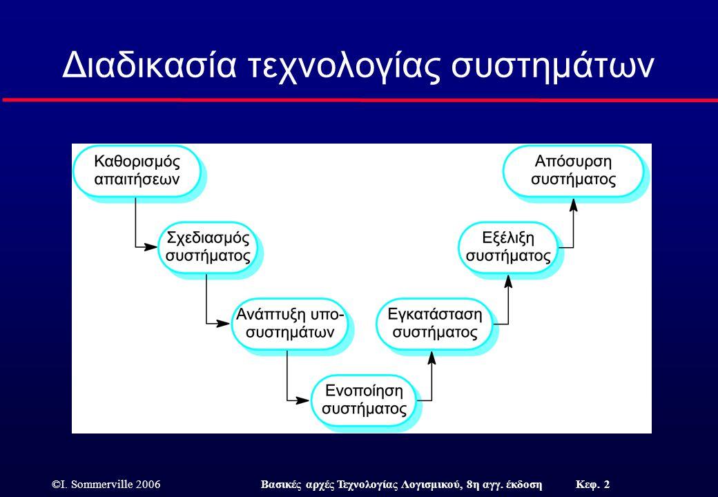 ©I. Sommerville 2006Βασικές αρχές Τεχνολογίας Λογισμικού, 8η αγγ. έκδοση Κεφ. 2 Διαδικασία τεχνολογίας συστημάτων