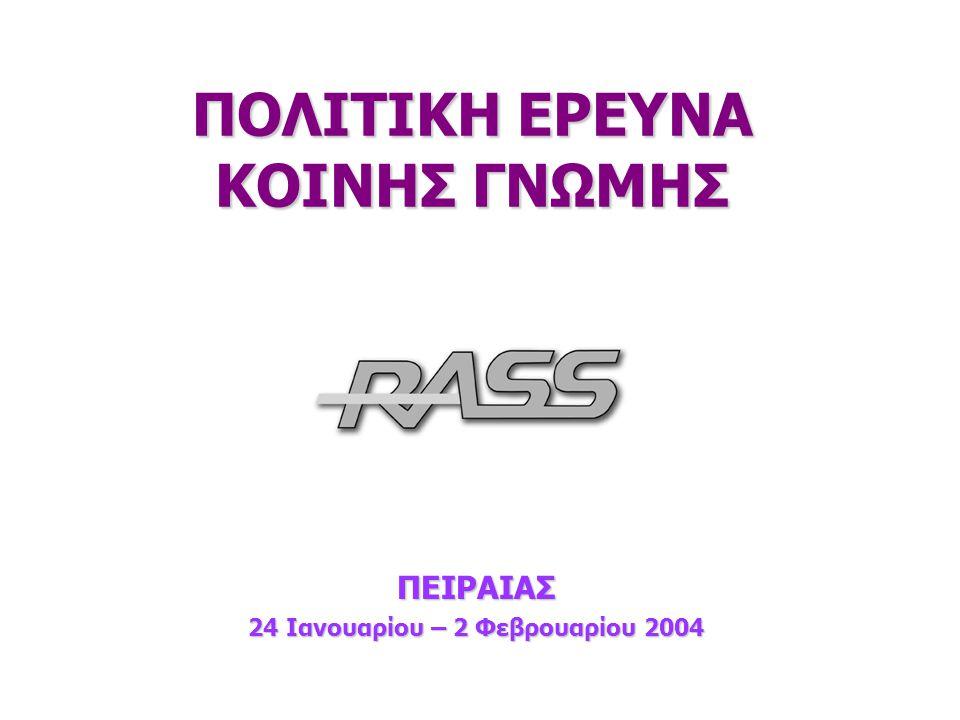 2 24/1-2/2/2004 Ταυτότητα της έρευνας Ανάθεση: Ανάθεση: Τηλεοπτικός σταθμός 'STAR'.