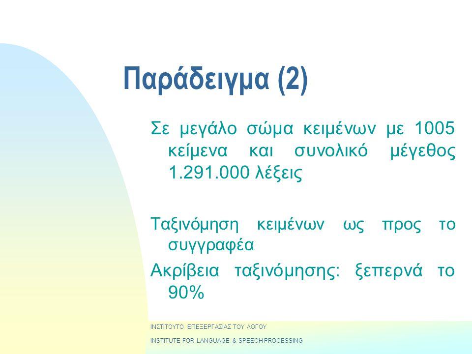 ΙΝΣΤΙΤΟΥΤΟ ΕΠΕΞΕΡΓΑΣΙΑΣ ΤΟΥ ΛΟΓΟΥ INSTITUTE FOR LANGUAGE & SPEECH PROCESSING Παράδειγμα (2) Σε μεγάλο σώμα κειμένων με 1005 κείμενα και συνολικό μέγεθος 1.291.000 λέξεις Ταξινόμηση κειμένων ως προς το συγγραφέα Ακρίβεια ταξινόμησης: ξεπερνά το 90%