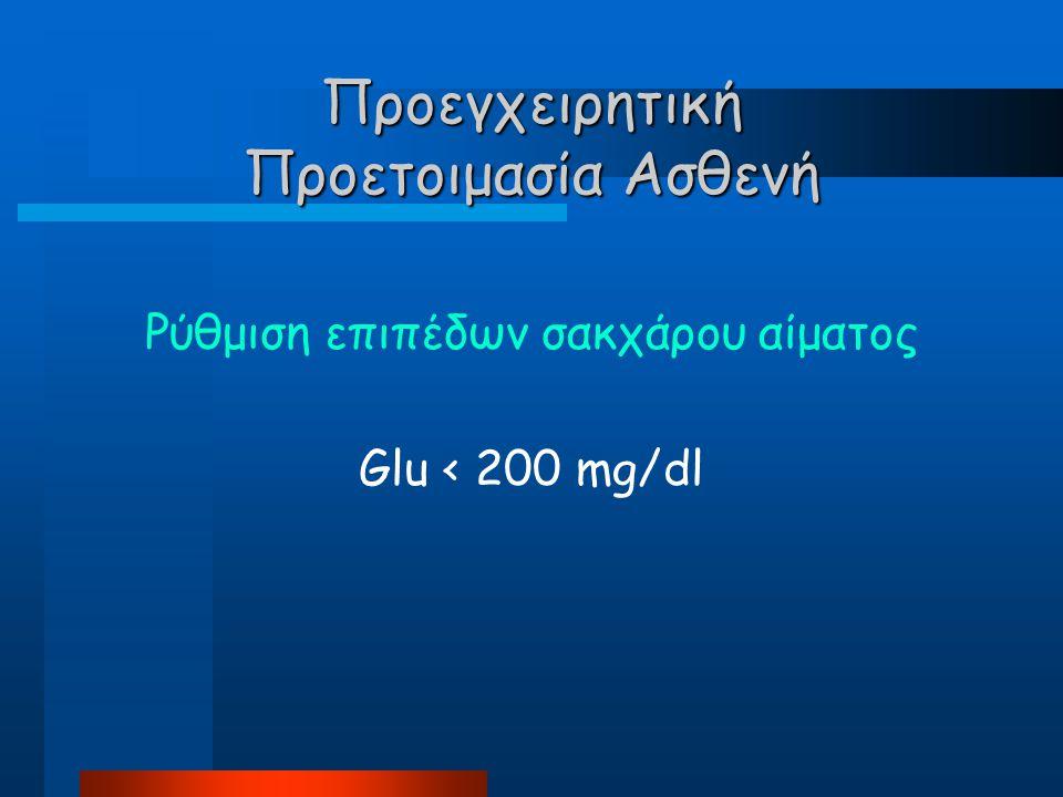 Προεγχειρητική Προετοιμασία Ασθενή Ρύθμιση επιπέδων σακχάρου αίματος Glu < 200 mg/dl
