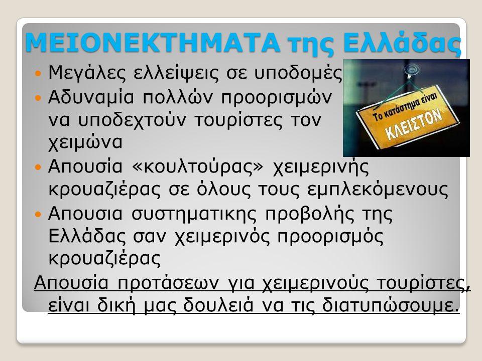 ΜΕΙΟΝΕΚΤΗΜΑΤΑ της Ελλάδας  Μεγάλες ελλείψεις σε υποδομές  Αδυναμία πολλών προορισμών να υποδεχτούν τουρίστες τον χειμώνα  Απουσία «κουλτούρας» χειμ